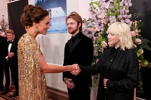 """LONDON, ENGLAND - SEPTEMBER 28: Catherine, Duchess of Cambridge meets """"No Time To Die"""" Performers Fi..."""