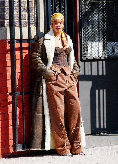 NEW YORK, NEW YORK - JULY 10: Rihanna is seen filming a music video on July 10, 2021 in New York City ...