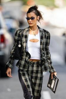 NEW YORK, NEW YORK - SEPTEMBER 21: Bella Hadid is seen in Tribeca on September 21, 2021 in New York ...
