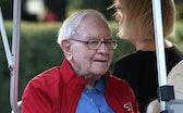 SUN VALLEY, IDAHO - JULY 07: Chairman and CEO of Berkshire Hathaway Warren Buffett rides in a golf c...