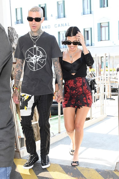 VENICE, ITALY - AUGUST 29: Kourtney Kardashian and Travis Barker are seen on August 29, 2021 in Ven ...