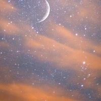 USA, New York sept 01/2014  composite image, crescent moon and star field