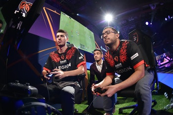 MILAN, ITALY - FEBRUARY 09: Haroun Yassin and Ramy Abdelaal of Nasr eSports team compete during Fina...