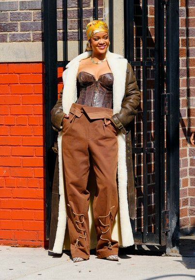 NEW YORK, NEW YORK - JULY 10: Rihanna is seen set for a music video on July 10, 2021 in New York Cit...