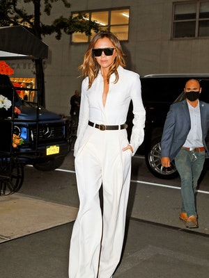 NEW YORK CITY, NY - OCTOBER 13: Victoria Beckham is seen on October 13, 2021 in New York City, New Y...