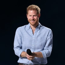 INGLEWOOD, CALIFORNIA: In this image released on May 2, Prince Harry, The Duke of Sussex, speaks ons...