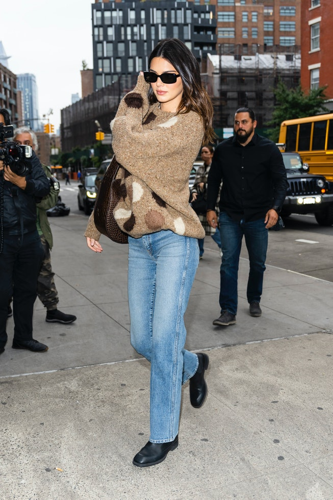 NEW YORK, NEW YORK - OCTOBER 13: Kendall Jenner is seen in the Meatpacking District on October 13, 2...