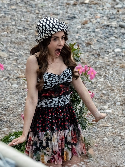 SAINT-JEAN-CAP-FERRAT, FRANCE - MAY 04:  Actress Lily Collins is seen filming on set of series two o...