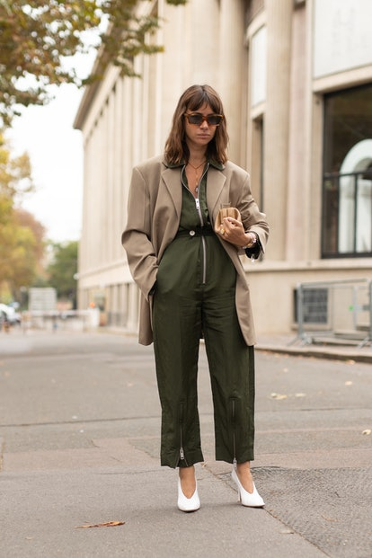 PARIS, FRANCE - OCTOBER 02:  Natasha Goldenberg is seen on the street during Paris Fashion Week SS19...