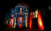 LOS ANGELES, CA - OCTOBER 24:  A view of the decorated Playboy Mansion at the annual Halloween Party...