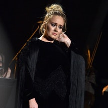 LOS ANGELES, CA - FEBRUARY 12: Singer-songwriter Adele performs George Michael tribute onstage durin...