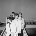 British rock group the Beatles arrive at London Airport on the 'Clipper Beatles', after their final ...