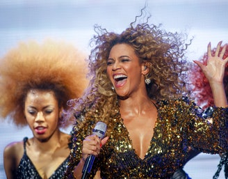 GLASTONBURY, ENGLAND - JUNE 26: Beyonce performs on the main Pyramid Stage at the 2011 Glastonbury F...