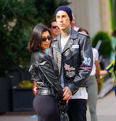 NEW YORK, NEW YORK - OCTOBER 16: Kourtney Kardashian and Travis Barker are seen on October 16, 2021 ...