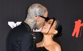 US drummer Travis Barker and US personality Kourtney Kardashian arrive for the 2021 MTV Video Music ...