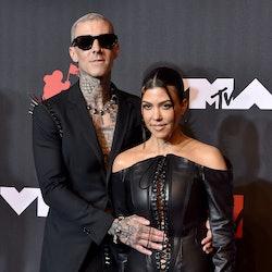 NEW YORK, NEW YORK - SEPTEMBER 12: Travis Barker and Kourtney Kardashian attend the 2021 MTV Video M...