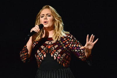 LOS ANGELES, CA - FEBRUARY 12:  Adele performs onstage during The 59th GRAMMY Awards at STAPLES Cent...