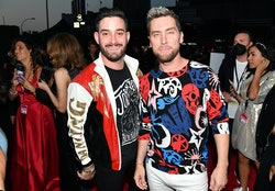 NEW YORK, NEW YORK - SEPTEMBER 12: (L-R) Michael Turchin and Lance Bass attend the 2021 MTV Video Mu...