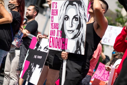 Fans of Britney Spears protest in front of the Stanley Mosk Courthouse during Britney's hearing to e...