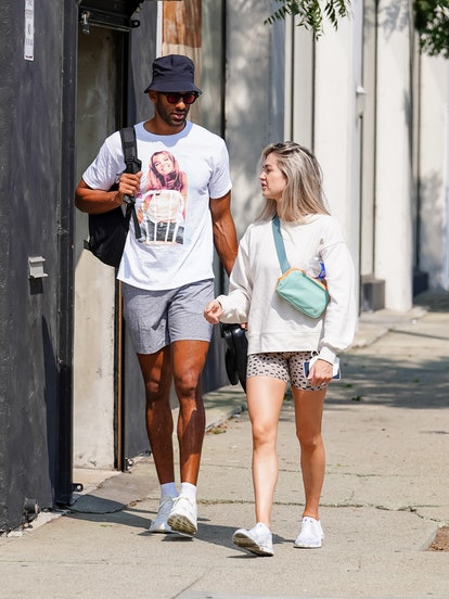 Matt James wears a Britney Spears T-shift as he and Lindsay Arnold are seen outside 'Dancing With Th...