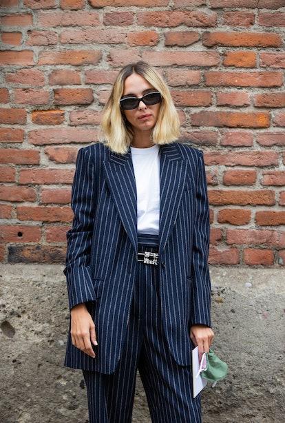 pinstripe blazer outfit
