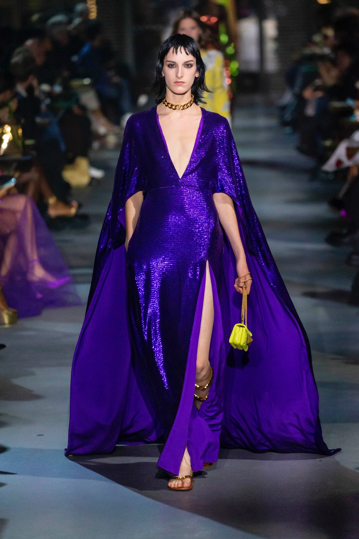 PARIS, FRANCE - OCTOBER 01: A model walks the runway during the Valentino Ready to Wear Spring/Summe...