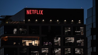 The Netflix logo is seen on the Netflix, Inc. building on Sunset Boulevard in Los Angeles, Californi...