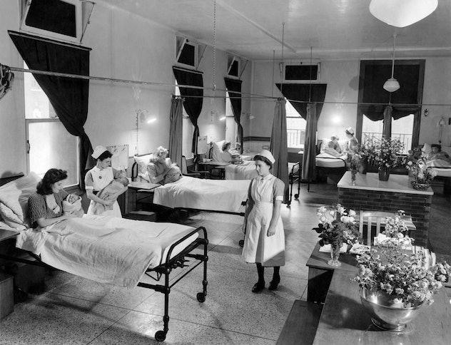 A vintage maternity ward circa 1943.