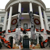 WASHINGTON, DC - OCTOBER 31:  A The South Portico of the White House is decorated for Halloween Octo...