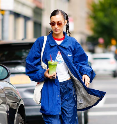 NEW YORK, NEW YORK - OCTOBER 12: Bella Hadid is seen on October 12, 2021 in New York City. (Photo by...
