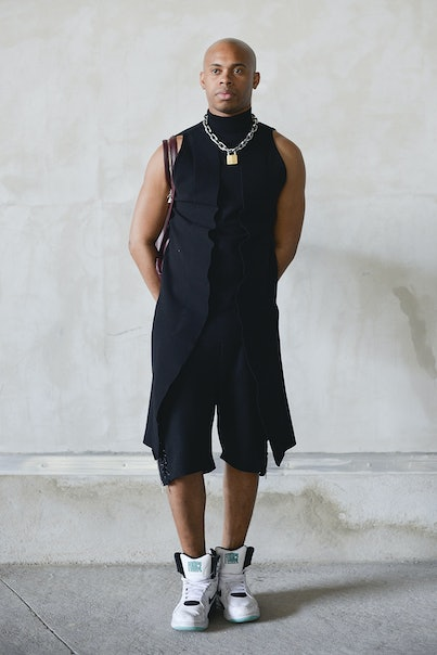 PARIS, FRANCE - JUNE 28: Hood by Air designer Shayne Oliver poses after the Hood by Air show at the ...