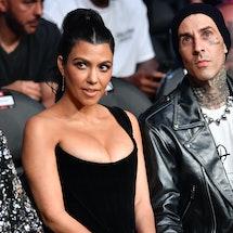 LAS VEGAS, NEVADA - JULY 10: Kourtney Kardashian and Travis Barker are seen in attendance during the...