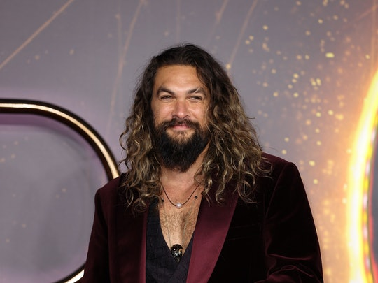 Jason Momoa in a velvet suit at a 'Dune' screening in London, England. (Photo by Mike Marsland/WireI...