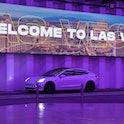 LAS VEGAS, NEVADA - APRIL 09:  A Tesla car drives through the Central Station during a media preview...