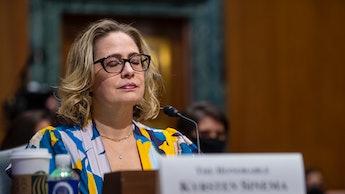 WASHINGTON, DC - OCTOBER 19: U.S. Sen. Kyrsten Sinema (D-AZ) speaks during a United States Senate Co...