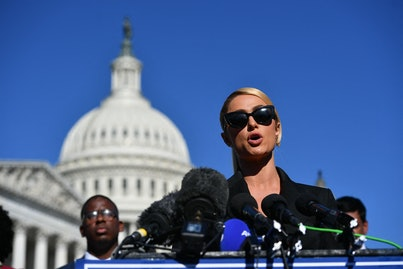 Paris Hilton speaks as she joins congressional lawmakers during a press conference on upcoming legis...