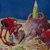 Painting of Alien Construction Landscape by Anton Brzezinski (Photo by Forrest J. Ackerman Collectio...