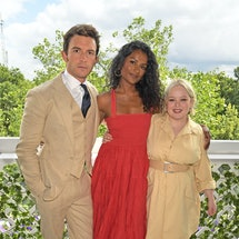 LONDON, ENGLAND - JULY 05: (L to R) Jonathan Bailey, wearing Polo Ralph Lauren, Simone Ashley, weari...