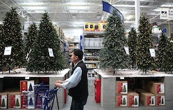 SAN FRANCISCO - NOVEMBER 04:  A shopper at a Lowe's home improvement store walks by a display of art...