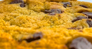 Close-up of top of chocolate chip cookie