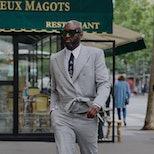 PARIS, FRANCE - JUNE 24: Virgil Abloh is seen strolling in Saint Germain on June 24, 2021 in Paris, ...