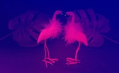Two flamingos with monstera leafs in neon colors, pink and blue.