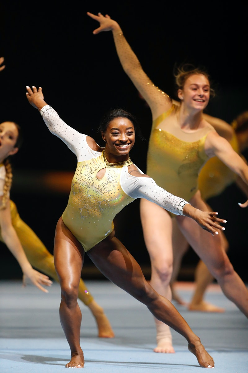 SAN FRANCISCO - SEPTEMBER 28:  USA gymnast Simone Biles takes part in opening of Gold Over America T...