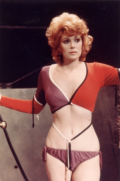 American actor Jill St. John wears a cutaway outfit in a still from the James Bond film, 'Diamonds A...