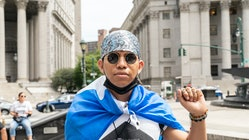 NEW YORK, UNITED STATES - 2021/08/17: Brayan of Churches United For Fair Housing joined few dozen De...