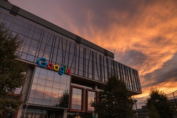 Seattle, USA - Oct 15, 2019: The new Google building in the south lake union area at sunset.