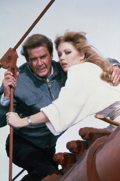 British actor Roger Moore and American actress Tanya Roberts on the set of the James Bond 007 film A...