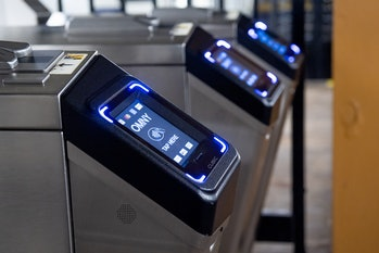NEW YORK, NEW YORK - MARCH 26: A view of the new OMNY contactless fare payment system on Fort Hamilt...