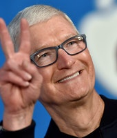 """WEST HOLLYWOOD, CALIFORNIA - JULY 15: Apple CEO Tim Cook attends Apple's """"Ted Lasso"""" Season 2 Premie..."""