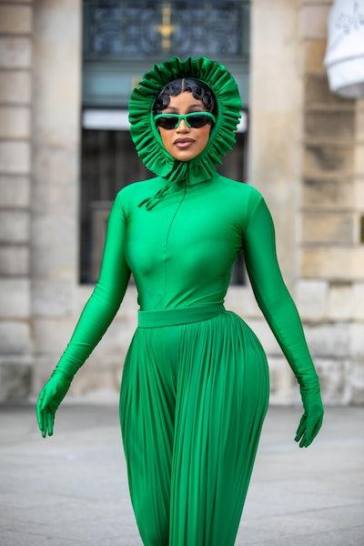 PARIS, FRANCE - OCTOBER 03: Singer Cardi B is seen on Place Vendome on October 03, 2021 in Paris, Fr...